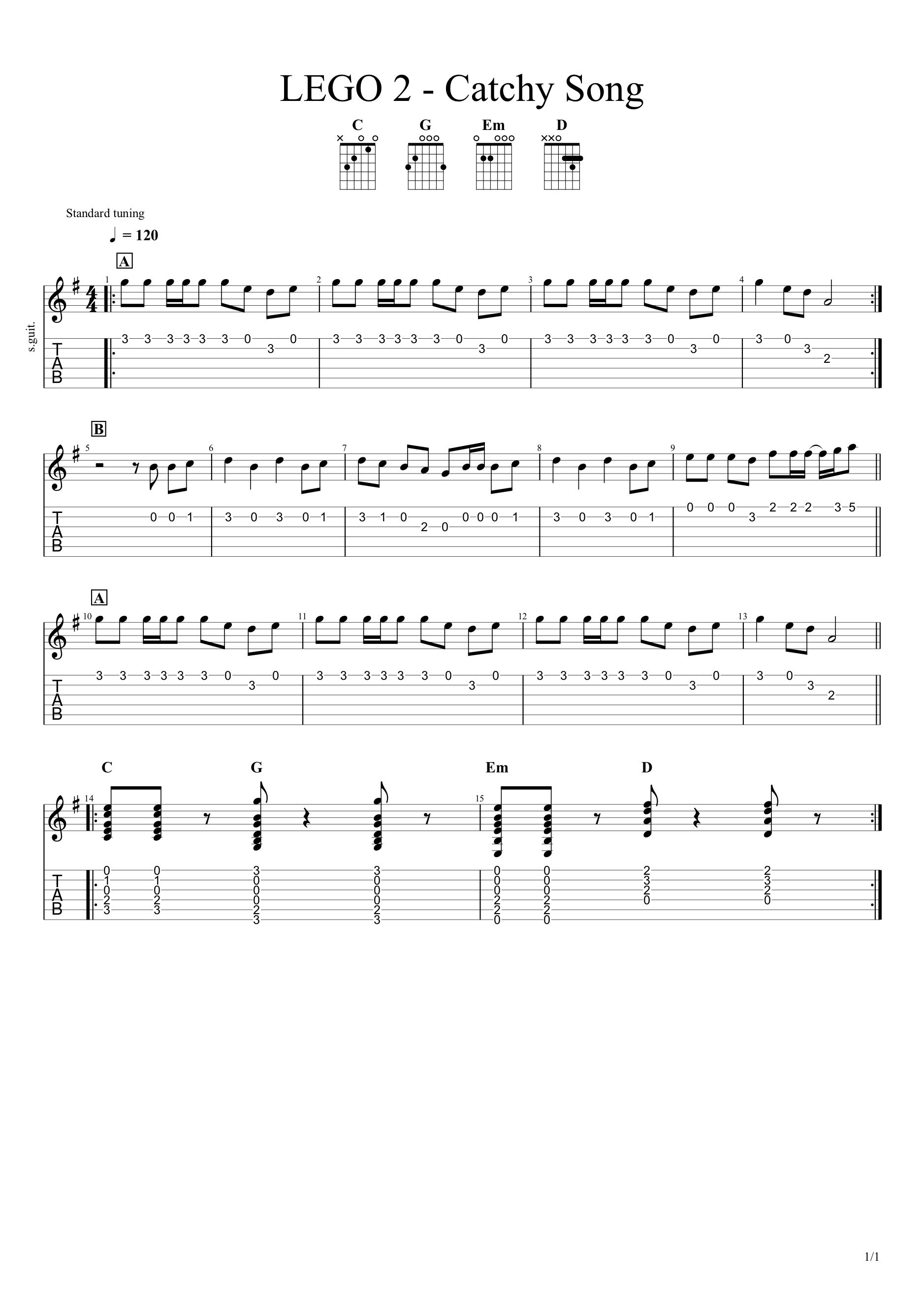 Lego Movie 2 Catchy Song Guitar Lesson Tab 9to42